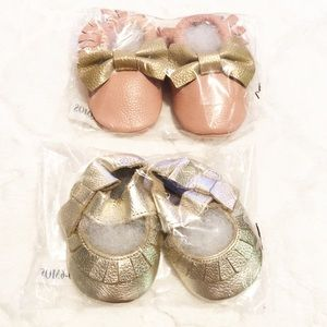 Other - 2 Pairs of Baby Girl Moccasins 0-6 Months Shoes